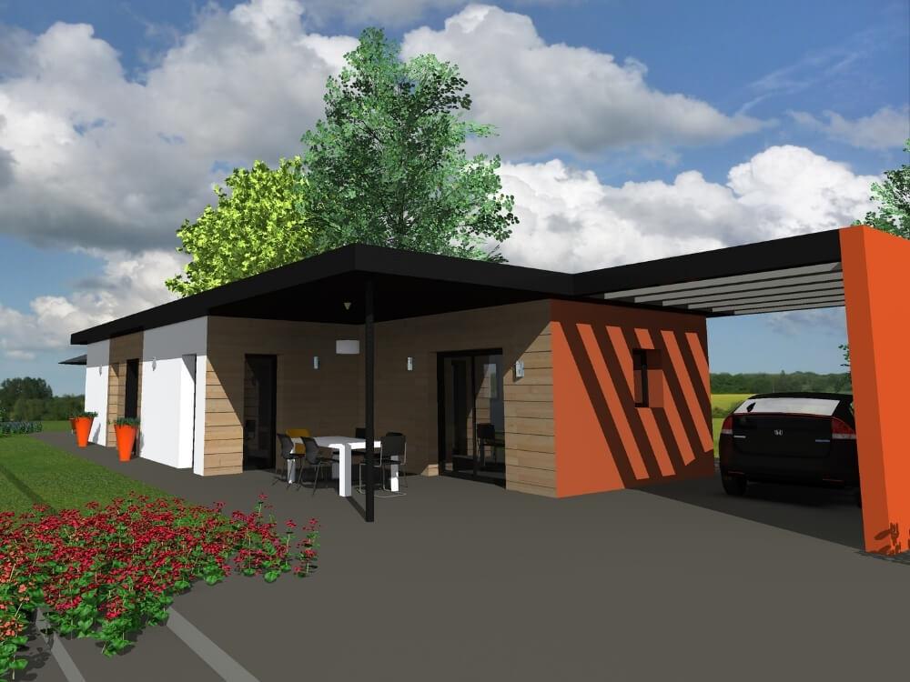 Réalisation - Fabrication maison ossature bois plain pied ou à étage - Maisons Acadie (11)
